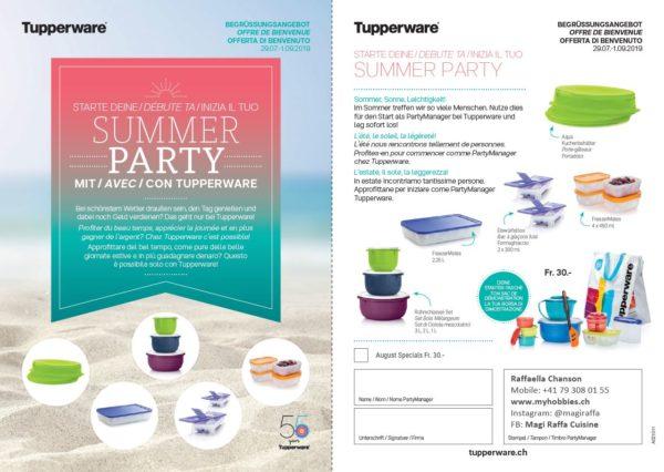 Offre de démarrage pour l'activité en temps choisi de Party Manager Tupperware - Set Summer Party: ensemble de produits pratiques pour la cuisine pour seulement 30 francs