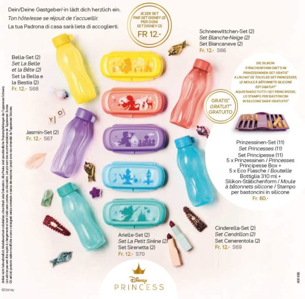 Chaque set (Box + bouteille 310 ml ) pour 12 francs S68 Set Belle et la Bête (2) - jaune  S66 Set Blanche-Neige (2) - pêche S67 Set Jasmine (2) - violet S69 Set Cendrillon (2) - bleu S70 Set La Petite Sirène (2) - turquoise S71 Les 5 sets + moule silicone Sticks