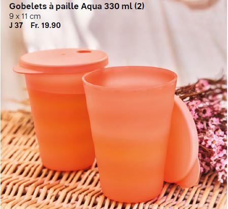 Gobelets à paille Aqua 330 ml (2) - Sortie du Catalogue Printemps-été 2020