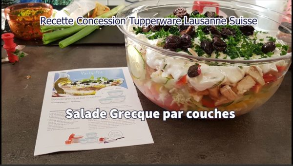 Vidéo de la recette Salade Grecue par couches présentée par Marie-Thérèse C.