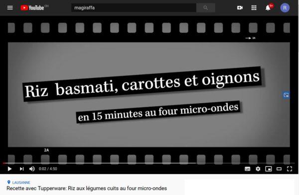Ma première recette vidéo sur Youtube - Riz basmati, carottes et oignons