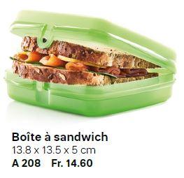 A208 Boîte à sandwich - au prix de Fr. 14.60 - Sortie du Catalogue Printemps-été 2020